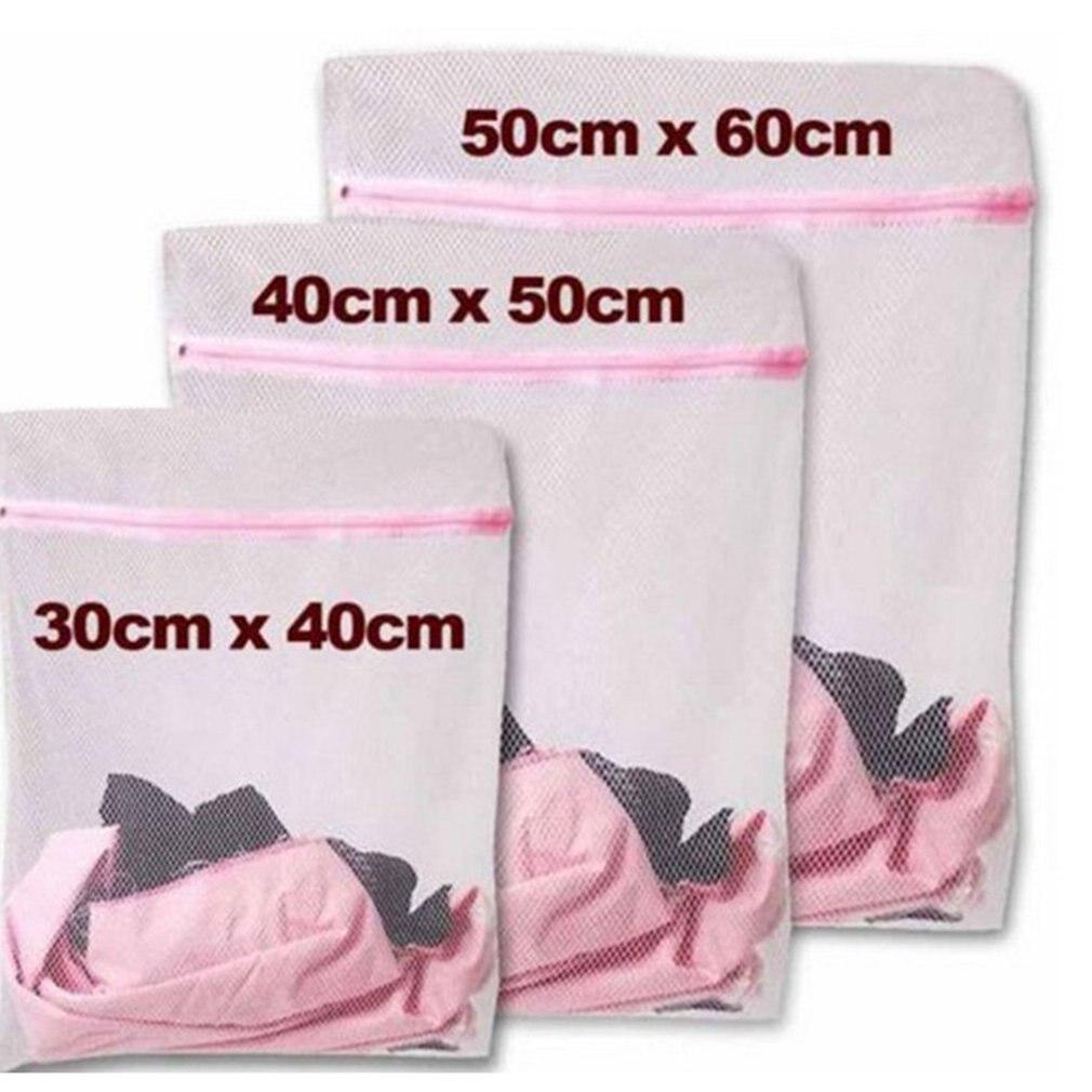 3 Sizes Zippered Foldable Nylon Laundry Bag Bra Socks Underwear Clothes Washing Machine Protection Net Mesh Laundry