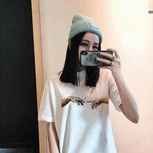 Michelangelo Cappella Sistina Harajuku Ulzzang Tumblr Women T-shirt Summer Funny Print Hip Hop T-shirt Streetwear Casua Tops Tee