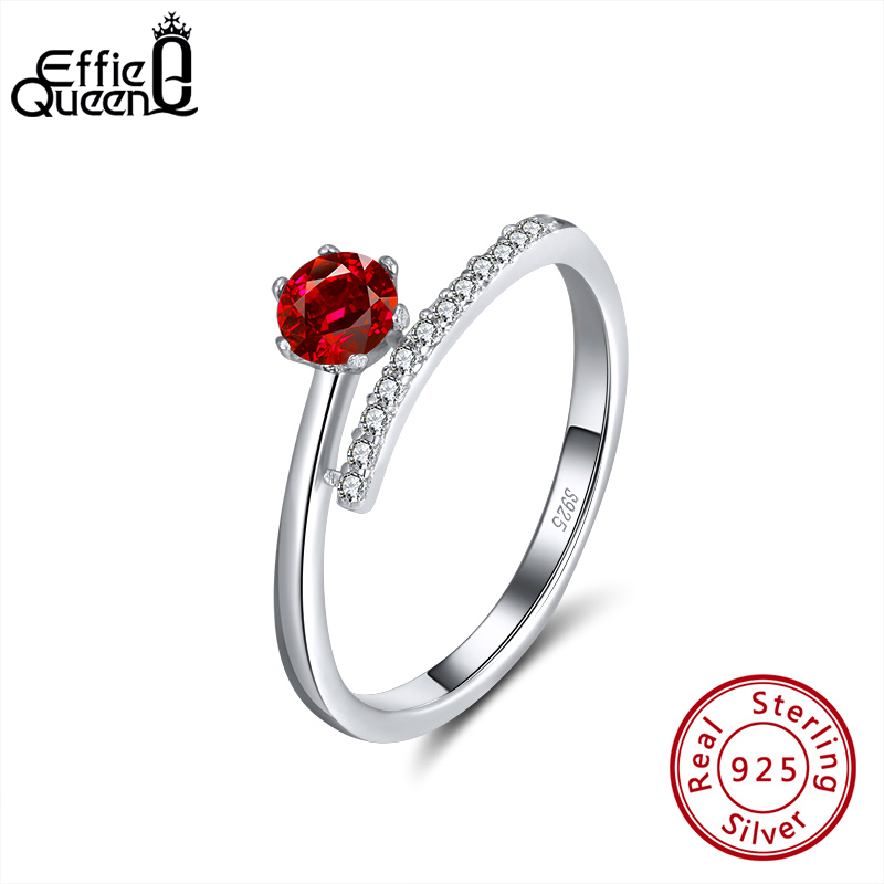 Effie Queen 925 Silver Adjustable Finger Rings With Red Crystal Stone AAAA Zircon Ring Female Jewelry Wedding Party Gift BR203