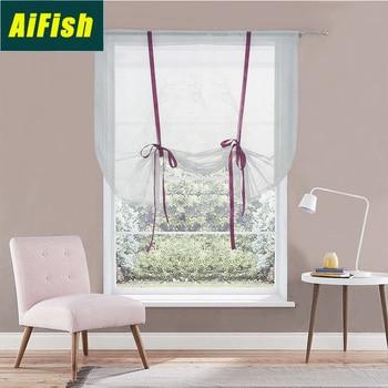 Cortinas romanas blancas de Streamer, cortinas de elevación de globo de pantalla de ventana, cortinas con lazo drapeado de hilo de perspectiva europea, TM-H002-4