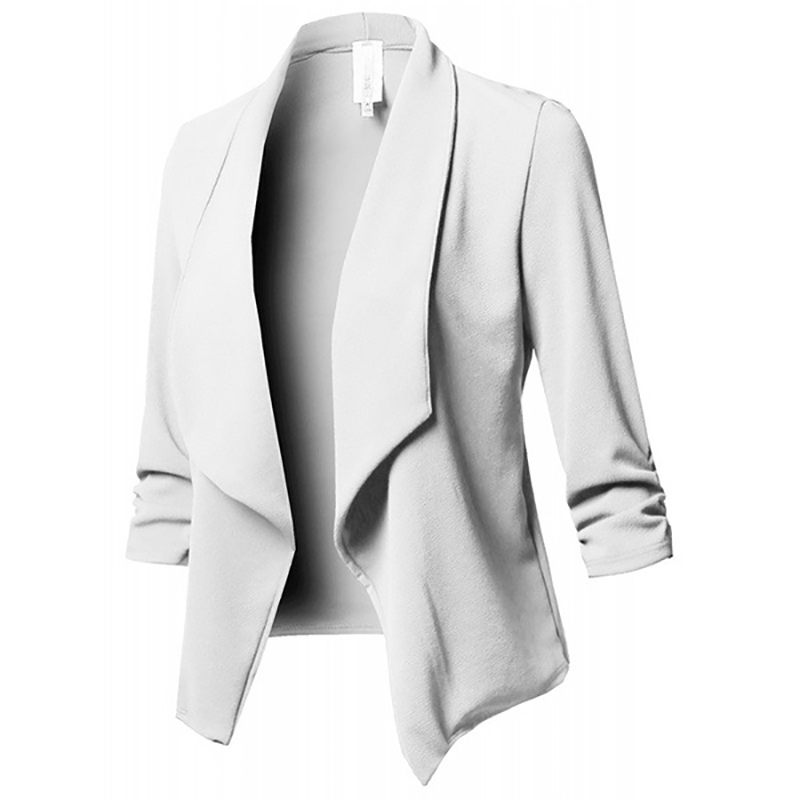 Image 5 - Women Blazer Jackets Female Retro Suits Coat Feminino OL Blazers Outerwear Plus Size Open Front Short Cardigan Plus Size S 5XL-in Blazers from Women's Clothing