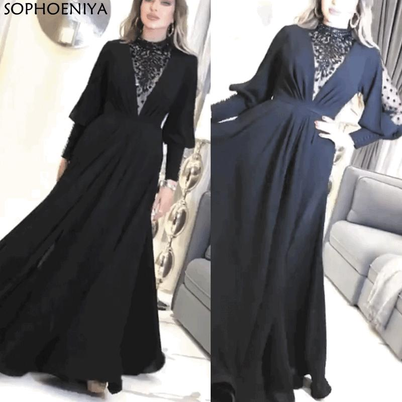 New Arrival Robe de soiree Black Prom Dresses Long Sleeve Beaded Elegant Vintage Muslim Arabic Prom Gown Gala jurken