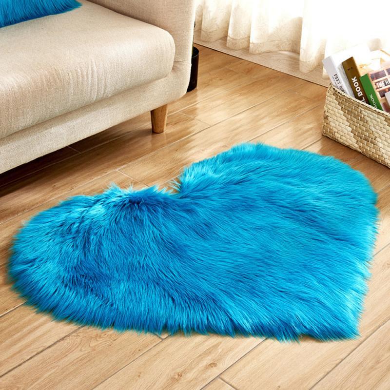 Heart Shaped Anti-Slip Soft Fabric Love Floor Mat Carpet Dining Area Bedroom Floor Mats Sweet Solid Color Floor Mats