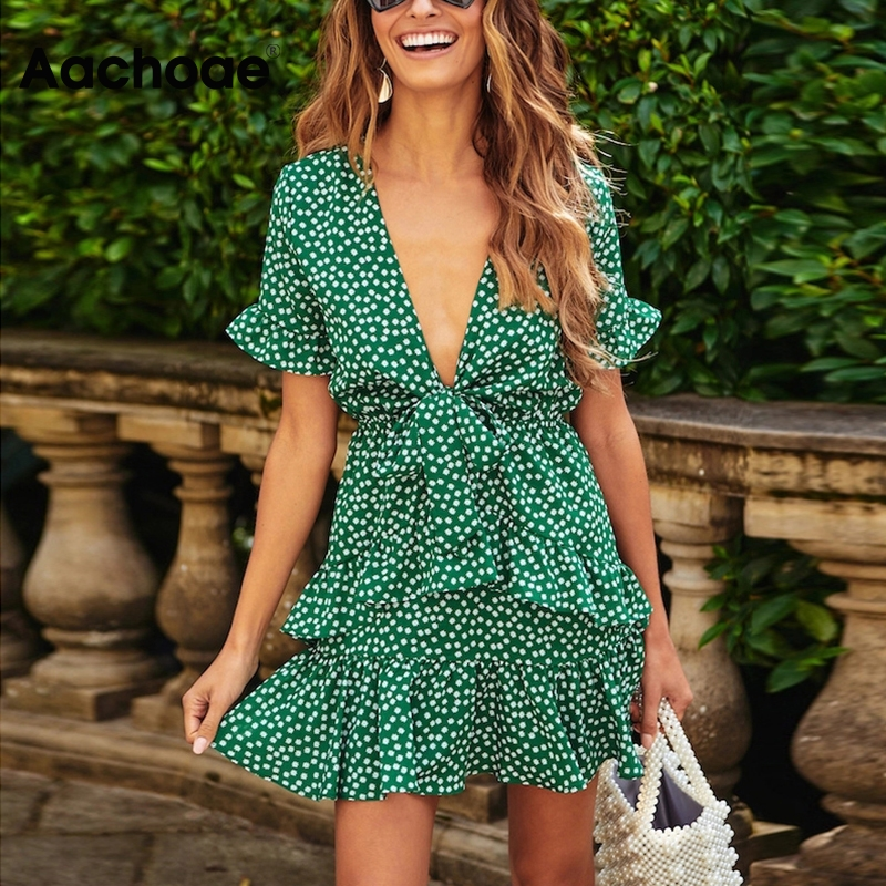 Aachoae Deep V Neck Boho Beach Dress Women Floral Print Summer Ruffle Mini Dresses Bow Tie Short Sleeve Holiday Dress Sundress