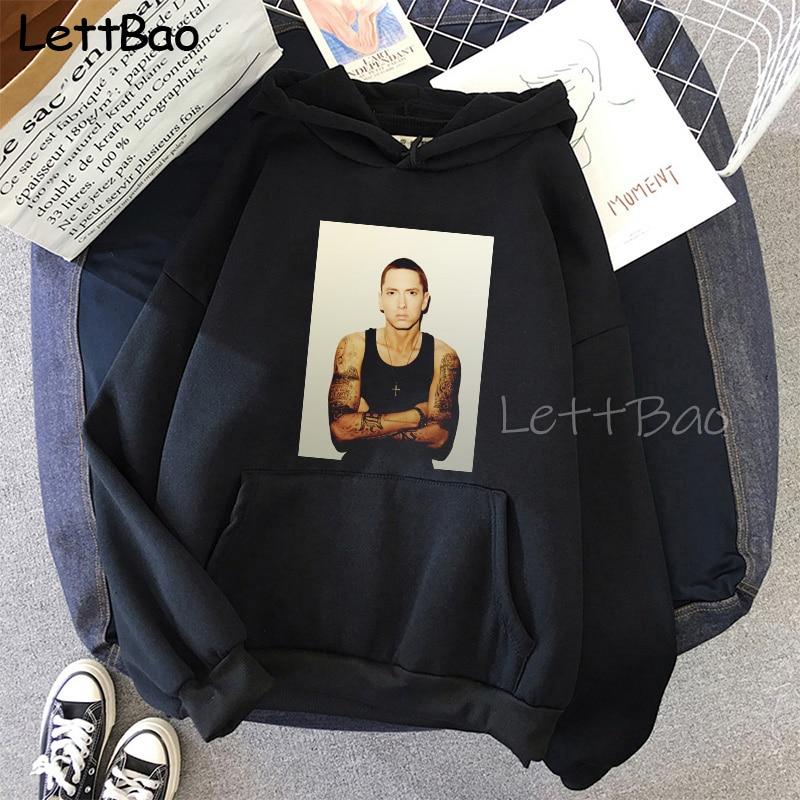 Eminem Cool Black Unisex Hoodies Sweatshirt Hip Hop Rap Punk Style Tops Pullover HipHop Rock Gothic Winter Coat Women Men Hoodie 18