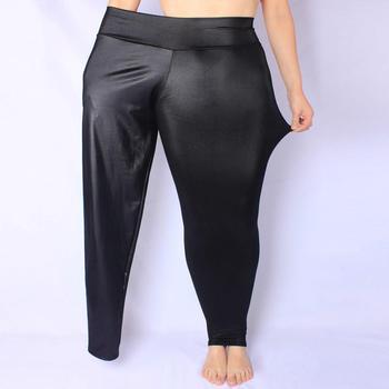 COCOEPPS XL-7XL 2020 wiosna czarne z połyskiem rozmiar spodnie z wysokim stanem Casual 5XL 6XL duże rozmiary Lmitate skórzane spodnie kobieta ołówkowe spodnie tanie i dobre opinie Kostki długości spodnie Faux leather Elastyczny pas Mieszkanie D3-F19126806 Wysoka WOMEN Stałe Na co dzień Ołówek spodnie