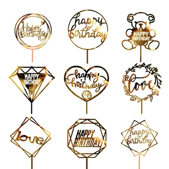 1PC Acrylic Cake Topper Gold Flash Cake Topper Happy Birthday Party New Year Decoration For Home Party Supplies Cupcake Topper 1