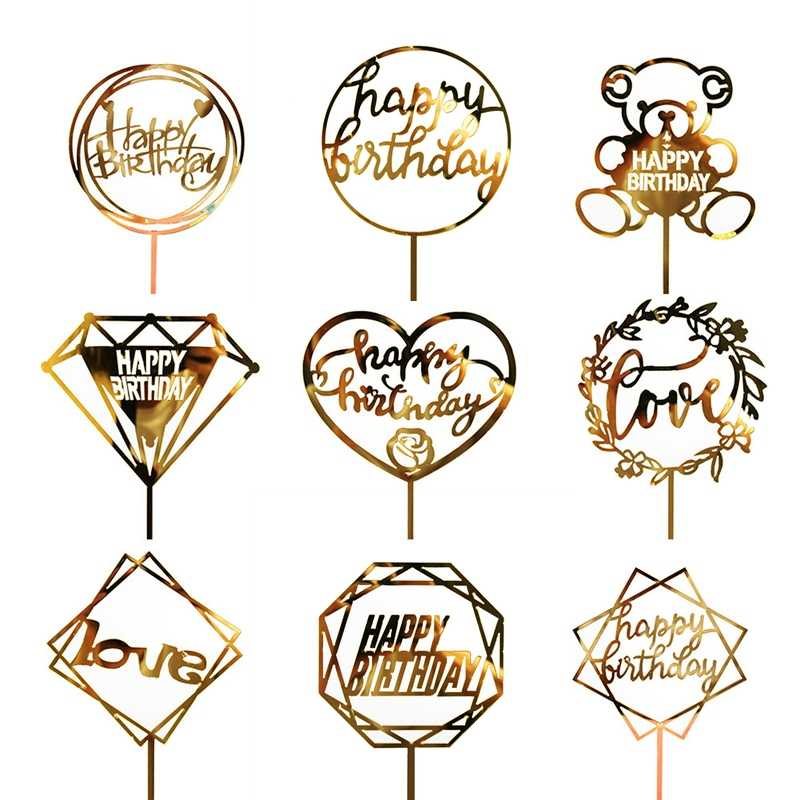 1PCเค้กอะคริลิคTopperทองแฟลชเค้กTopper Happy Birthday Partyตกแต่งปีใหม่สำหรับHome Party Supplies Cupcake topper