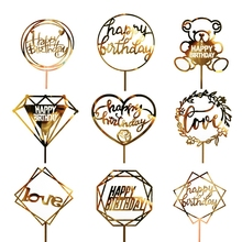 1PC Acrylic Cake Topper Gold Flash Cake Topper Happy Birthday Party New Year Decoration For Home Party Supplies Cupcake Topper