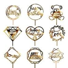 1PC acrylique gâteau Topper or Flash gâteau Topper joyeux anniversaire fête nouvel an décoration pour la maison fête fournitures décoration de gâteaux