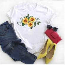 Дамский модный цветок графический принт футболка в Корейском