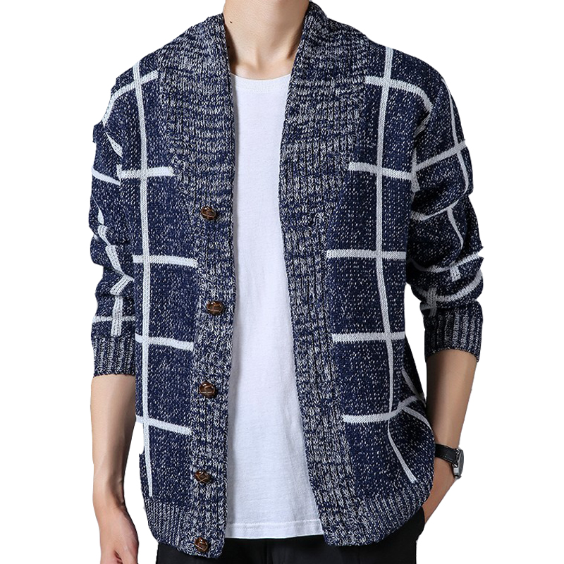 Brand New Men's Sweater Knitting Men Long Sleeve plaid Pullovers Slim Fit V-neck Coat Hooded Men Cardigan Sweater Clothes J964