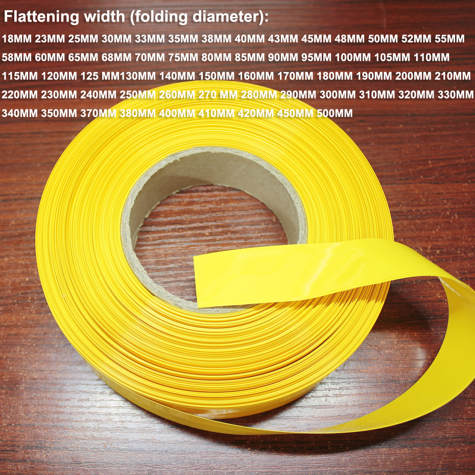 1kg <font><b>21700</b></font> lithium <font><b>battery</b></font> shrink <font><b>sleeve</b></font> 18650 <font><b>battery</b></font> PVC heat shrinkable film insulation package skin yellow 180MM wide image