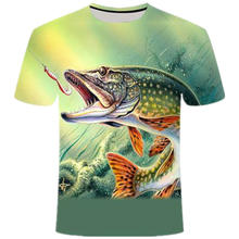 2021 Summer New Trend All-Match Tshirt Men'S/Boys Interesting Fish Pattern Fashion Cool Round Neck Oversized T-shirts Tops