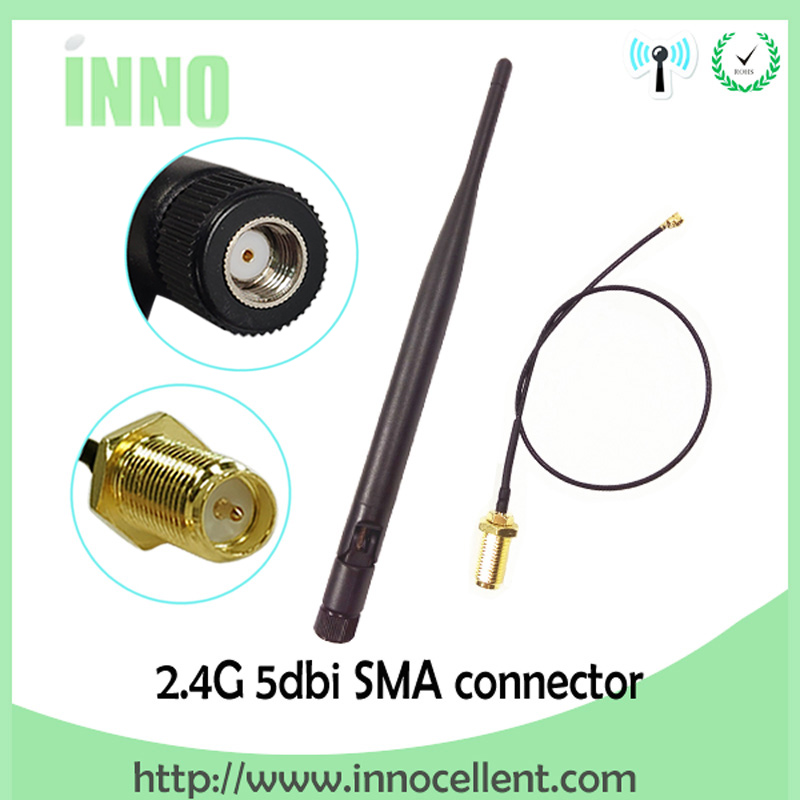 2.4 GHz Antenna Wifi 5dBi WiFi Aerial 2.4G RP-SMA Male 2.4ghz Antena Wi Fi Router + PCI U.FL IPX To RP SMA Male Pigtail Cable