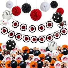 1 Set HAPPY HALLOWEEN Letter Balloons Horrible Eyes Foil Pumpkin Spider Latex Balloon Halloween Party Decoration Supply