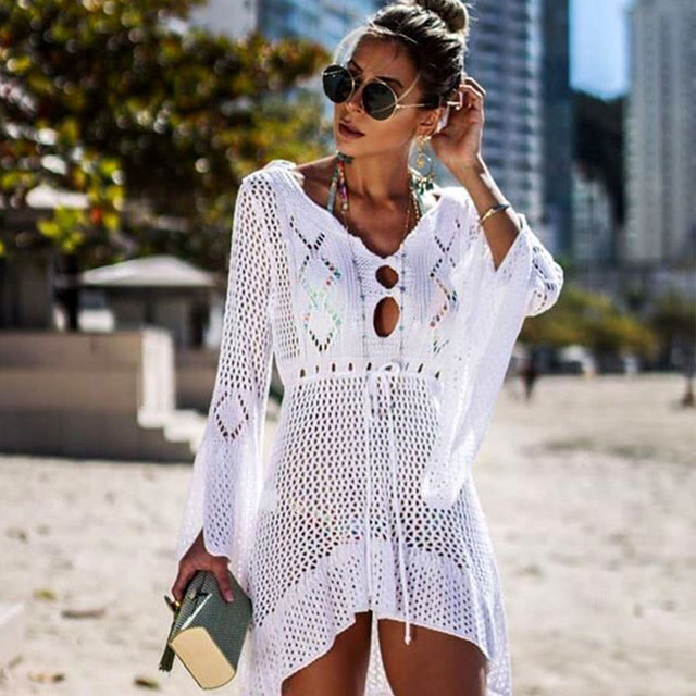 2020 Summer Women Beachwear Sexy White Crochet Tunic Beach Wrap Dress Woman Swimwear Swimsuit Cover ups Bikini Cover Up #Q719