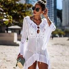 2020 Zomer Vrouwen Beachwear Sexy Witte Gehaakte Tuniek Strand Wrap Jurk Vrouw Badmode Badpak Cover Ups Bikini Cover Up # Q719