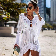 Túnica blanca de Crochet para mujer, vestido envolvente de playa, traje de baño para mujer, Túnica Sexy para mujer # Q719 2020
