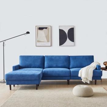 "[2021]Modern fabric sofa L shape, 3 seater with ottoman-104"" Blue 1"