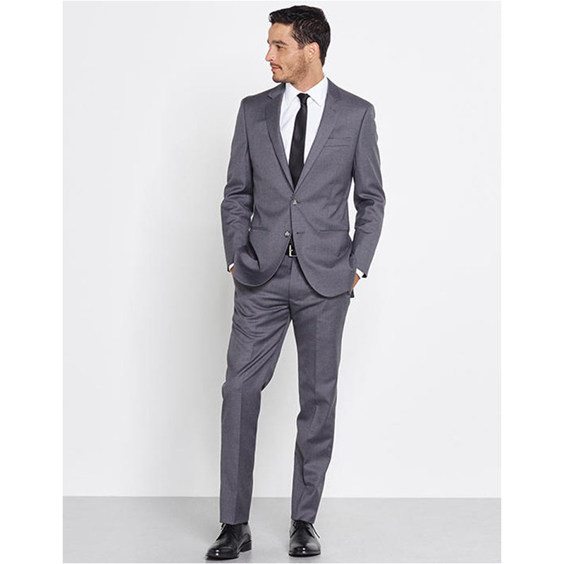 Promotion New Fashion Maillot Homme Grey Notch Lapel Three Pockets Man Wears Mens Suits Wedding Groom (Jacket+Pant)