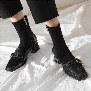 Image 5 - FEDONAS مربع اصبع القدم النساء منتصف العجل الأحذية بوط من الجلد الطبيعي الدافئة السيدات الجوارب أحذية أنيقة حزب منصات الشتاء أحذية امرأة