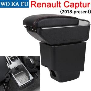 Image 1 - Pour Renault Captur 2 2018 accoudoir boîte magasin central contenu boîte avec support de verre cendrier peut se lever avec accessoire USB