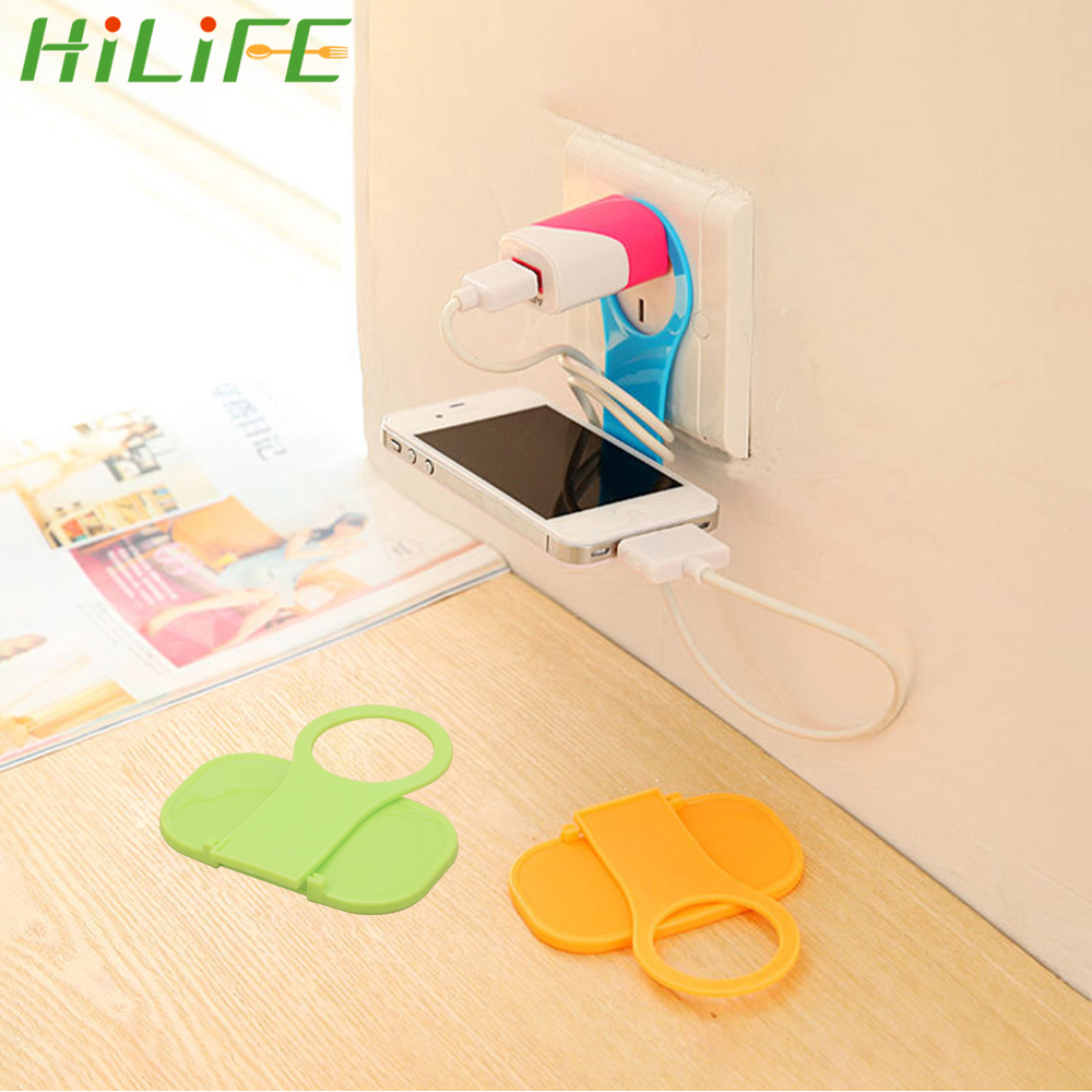 HILIFE Foldable Phone Holder Charger Cable Storage Charging Rack Hang Holder Mobile Phone Wall Plug Socket For Charger Universal