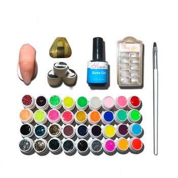 цена на Full DIY Acrylic Art Kit Set Acrylic Powder Liquid Nail Tips Sticeker Nail Art 36 Color Nail Polish Glue Nail Set