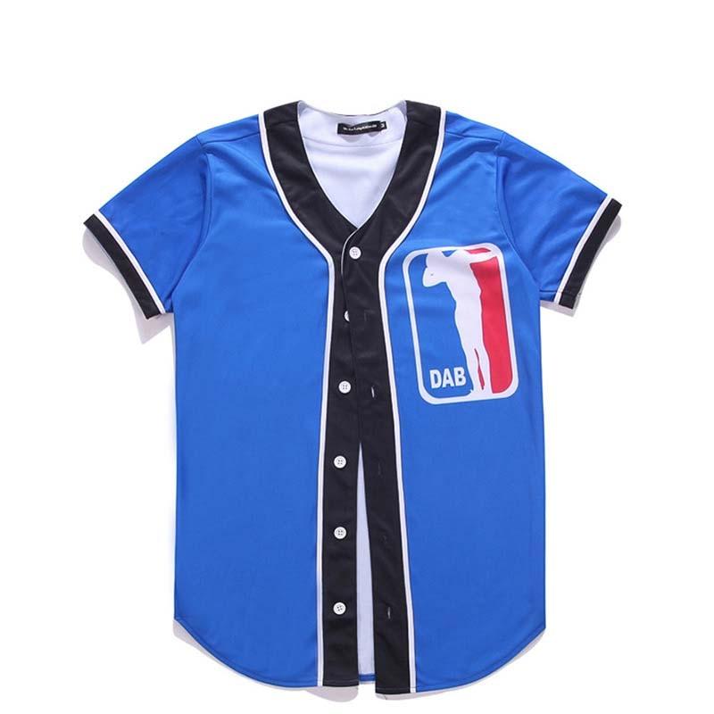 Camiseta de béisbol azul para hombre con botones, camiseta 3D Unisex de manga corta Hip Hop, ropa de calle a la moda, Tops de verano para M-XXXL