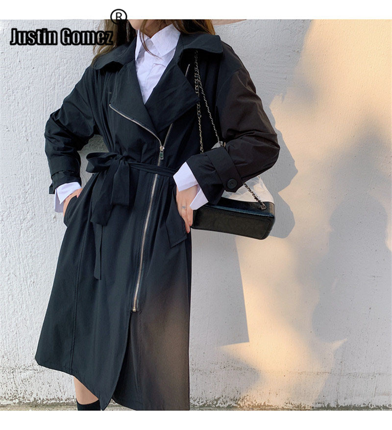 Loose Zipper Medium-long Windbreaker With Belt Autumn Office Women Outwear   Trench   Coat Women's Fashion 2019 Comfortable Coat
