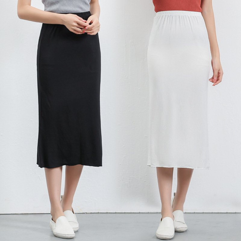 Summer Ladies Modal Skirt In The Long Paragraph Bottom Bag Hip Skirt Elastic High Waist Slim Skirts Rk 3Colors