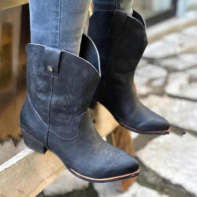 Kadın orta buzağı çizmeler bayanlar batı Cowgirl toynak topuklar sivri burun kadın işlemeli yumuşak deri moda kadın konfor ayakkabı