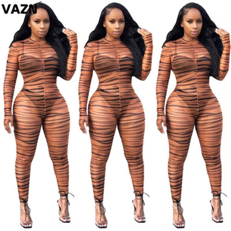 VAZN DM8094 O-Neck New Leopard Lace Tracksuits   Jumpsuits   Long Sleeve Bodycon Long Sleeve Women Bandage Long Pencil   Jumpsuits