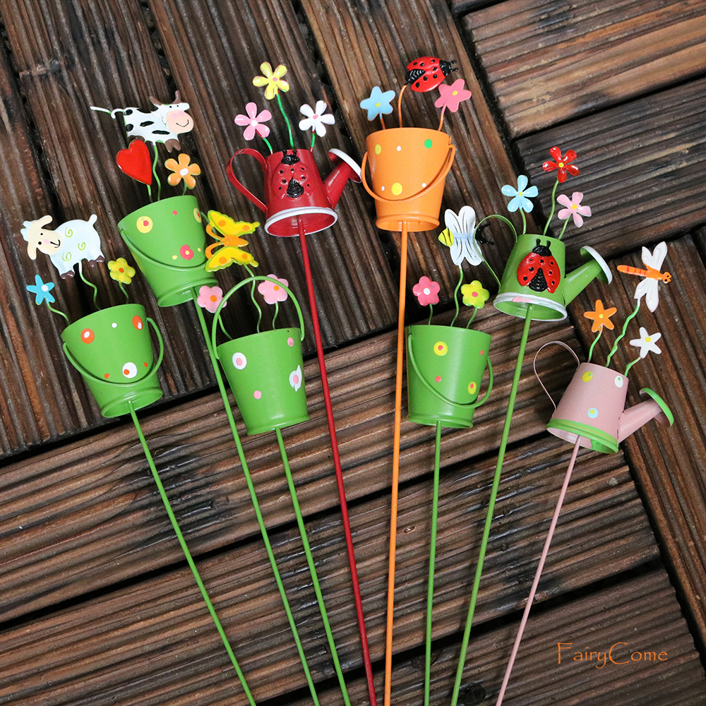 Fairy Garden Miniature Painted Tin Bucket and Watering Can Picks Miniature Garden Decorative Picks Flower Pot Metal Crafts Decor