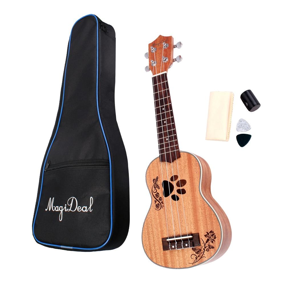 21 'acajou Soprano ukulélé Uke guitare hawaïenne avec sac de concert