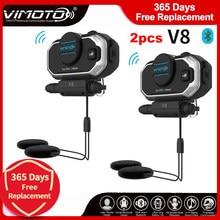 Versão inglesa 2 conjuntos de vimoto v8 bluetooth, capacete intercom, fones de ouvido estéreo de motocicleta, para celular gps, rádio de 2 vias