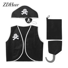 5Pcs Kids Boys Girls Halloween Costume Colony Pirate Cosplay Set Clubwear Gothic Pirate Dress Up Outfit Exotic Role Play Clothes