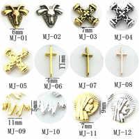 Electrocardiograma de Cruz de Dios para uñas, gel de joyería 3d para decoración de uñas artísticas, 50 unidades