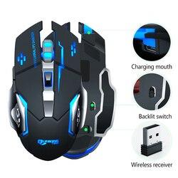 Bezprzewodowa mysz 7 kolorów oddychające światło akumulator komputer stacjonarny Laptop 2.4G 6 przycisków mysz do gier