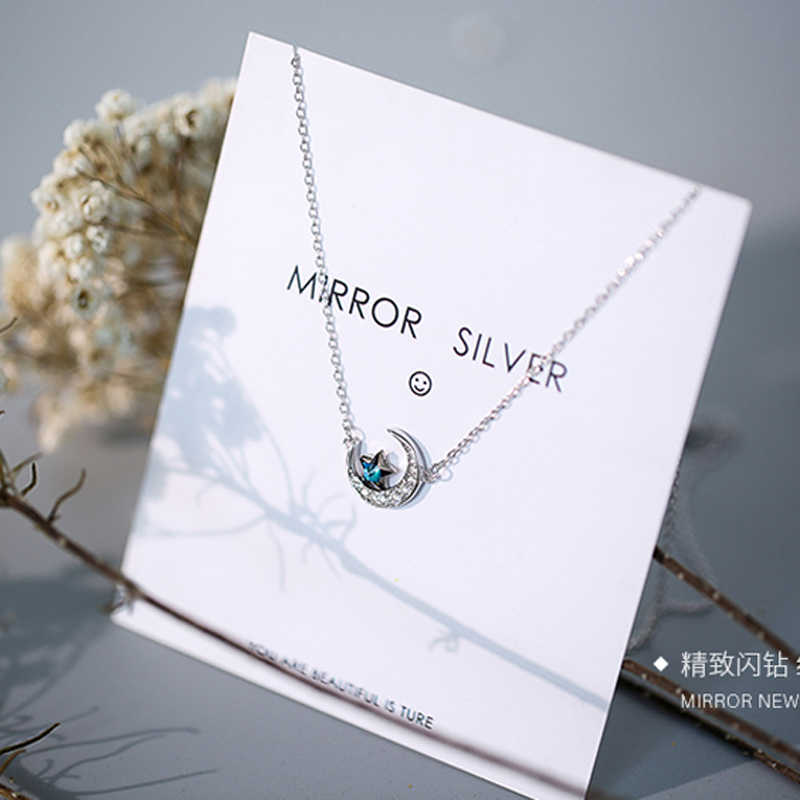 Colares femininos prata esterlina 925, lua azul, estrela, zircônio, estrela, colares para mulheres, presente de aniversário nk026