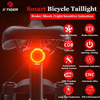 X-Tiger Bike Rear Light IPx6 Waterproof LED Charging Bicycle Smart Auto Brake Sensing Light Accessories Bike Taillight Light