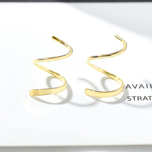 925 Sterling Silver  Old Craftsman Handcrafted Fashion Classic Simple Wave Helical Earrings For Womens Accessories