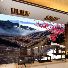 Custom wallpaper 3D photo mural HD atmosphere Chinese style Great Wall living room TV background wall bedroom hotel wallpaper цены