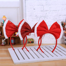 Милая повязка на голову с красным бантом и блестками; рождественские украшения; рождественские вечерние повязки на голову для костюмированной вечеринки; обруч для волос для девочек; Navidad