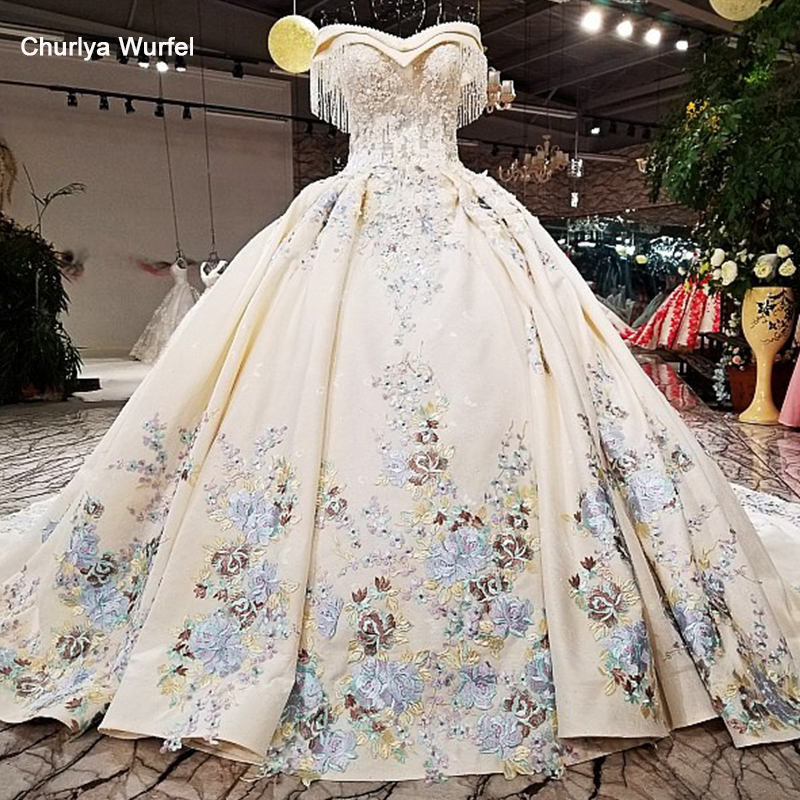 LS09476 2018 ball gown wedding dress with color flowers off shoulder sweetheart bridal gowns long train as photos