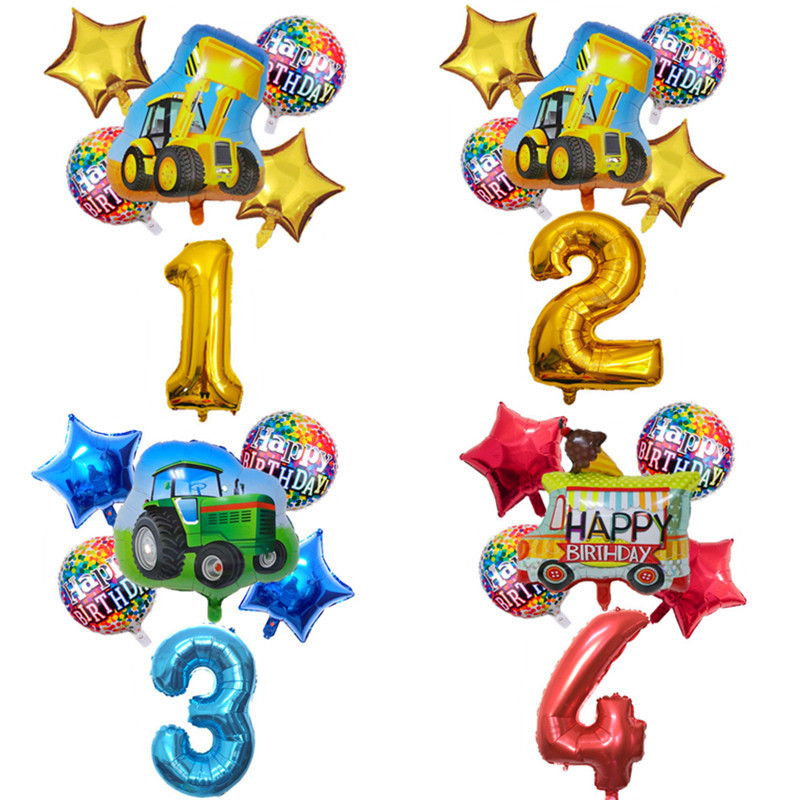 6pcs Cartoon Car Ballons Tractor Globos 32inch 1 2 3st Number Children Boy Gifts Birthday Party Holiday Decorations Kids Balls-0