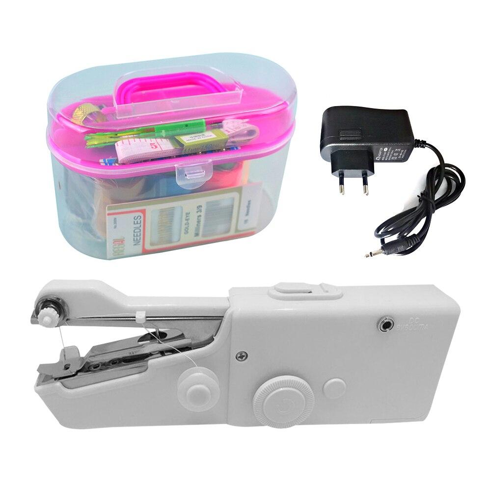 Портативная мини ручная швейная машина для шитья, беспроводная одежда, электрическая швейная машина с набором швейных коробок