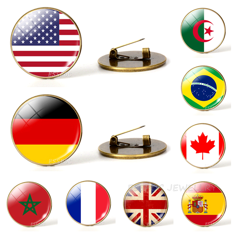 Country World Flags Brooch Pins National Flag Brooches America USA US Canada England Spain Russia Netherlands Italy Jewelry(China)