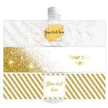 30 pçs nome personalizado luxo personalizado ouro garrafa de água etiquetas de vinho barra de doces envoltório do chá de fraldas festa de aniversário decoração